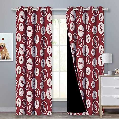 PONY DANCE Tree Decor Curtains - Mysterious Pine Patterned Panels Full Sunlight Blocking Heavy-Duty Drapery with Black Liner for Living Room/Sliding Glass Door, Rumba Red/Beige, 52