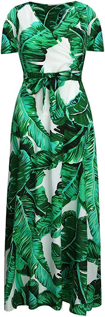 Women Split DressKingwo Ladies Fashion Leaf Prinr Elegant Maxi Dress Girls Summer V-Neck Short Sleeve Plus Size Bohemian Sundress Long Dress UK Size 12~22