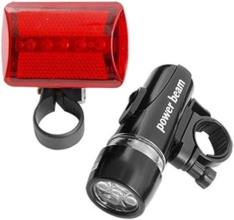 Ndier Lámpara de Bicicleta LED, 5 Linterna LED y Faro de luz roja ...