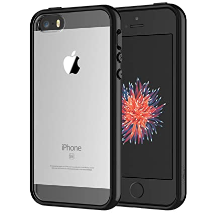 nuovo prodotto 336a6 61485 JETech Case for Apple iPhone SE 5S 5, Shock-Absorption Bumper Cover,  Anti-Scratch Clear Back, Black
