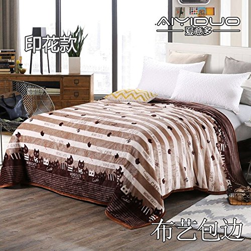 Znzbzt small blanket afternoon nap office single cute mini cover and small blankets winter student adult thick warm ,200x230cm [thick package of health, Coffee Cat