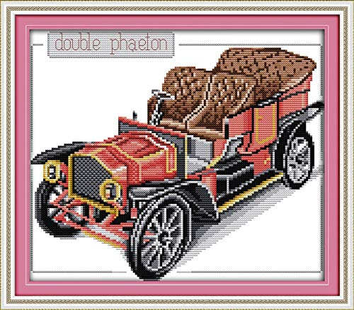 (Zamtac Bubble car Patterns Counted Cross Stitch 11CT Printed 14CT Cross Stitch Sets Cross-Stitch Kits Embroidery Needlework - (Cross Stitch Fabric CT Number: 14CT Counted Product))