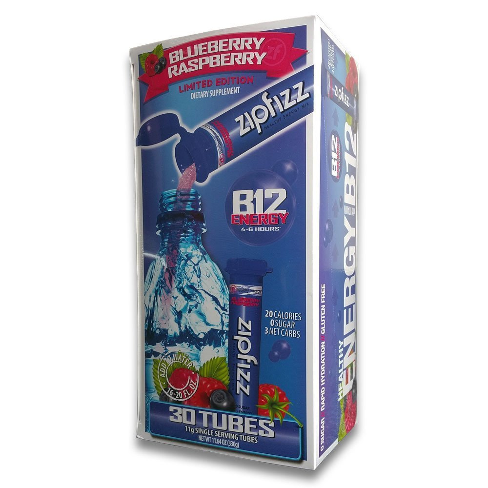 Zipfizz Healthy Energy Drink Mix, Limited Edition Blueberry Raspberry, 11g Single serving tubes - 30 Count