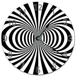 EasySells 10.5 Hypnotic Black and White Spiral Clock - Printed Clock - Large 10.5 Wall Clock - Home Décor Clock