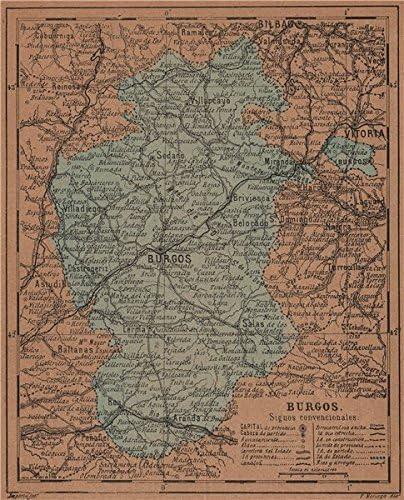 Burgos. Castilla y León. Mapa Antiguo de la Provincia – 1905 – Old Antiguo Mapa Vintage – Mapas de Impreso de España: Amazon.es: Hogar