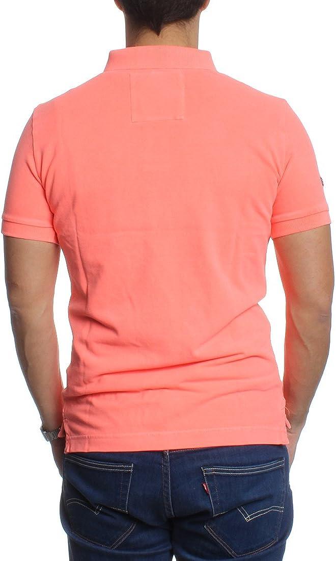 Superdry Men's Vintage Destroy Pique Polo Shirt Coral (Fluro Coral)