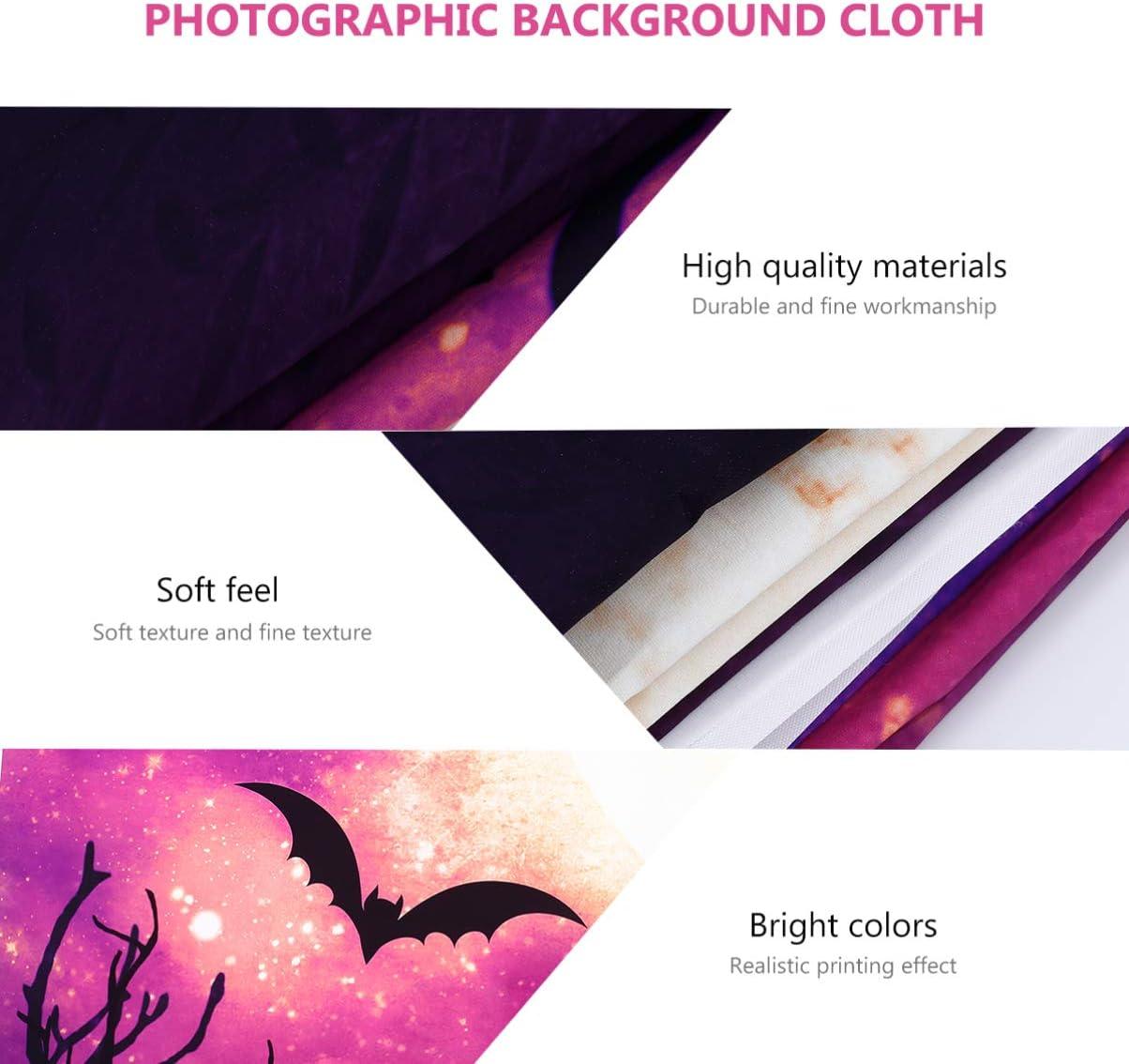 OSALADI Halloween Photo Backdrop Vinyl Creepy Bat Castle Photography Background Cloth Photo Booth Shoot Studio Props Halloween Party Decor