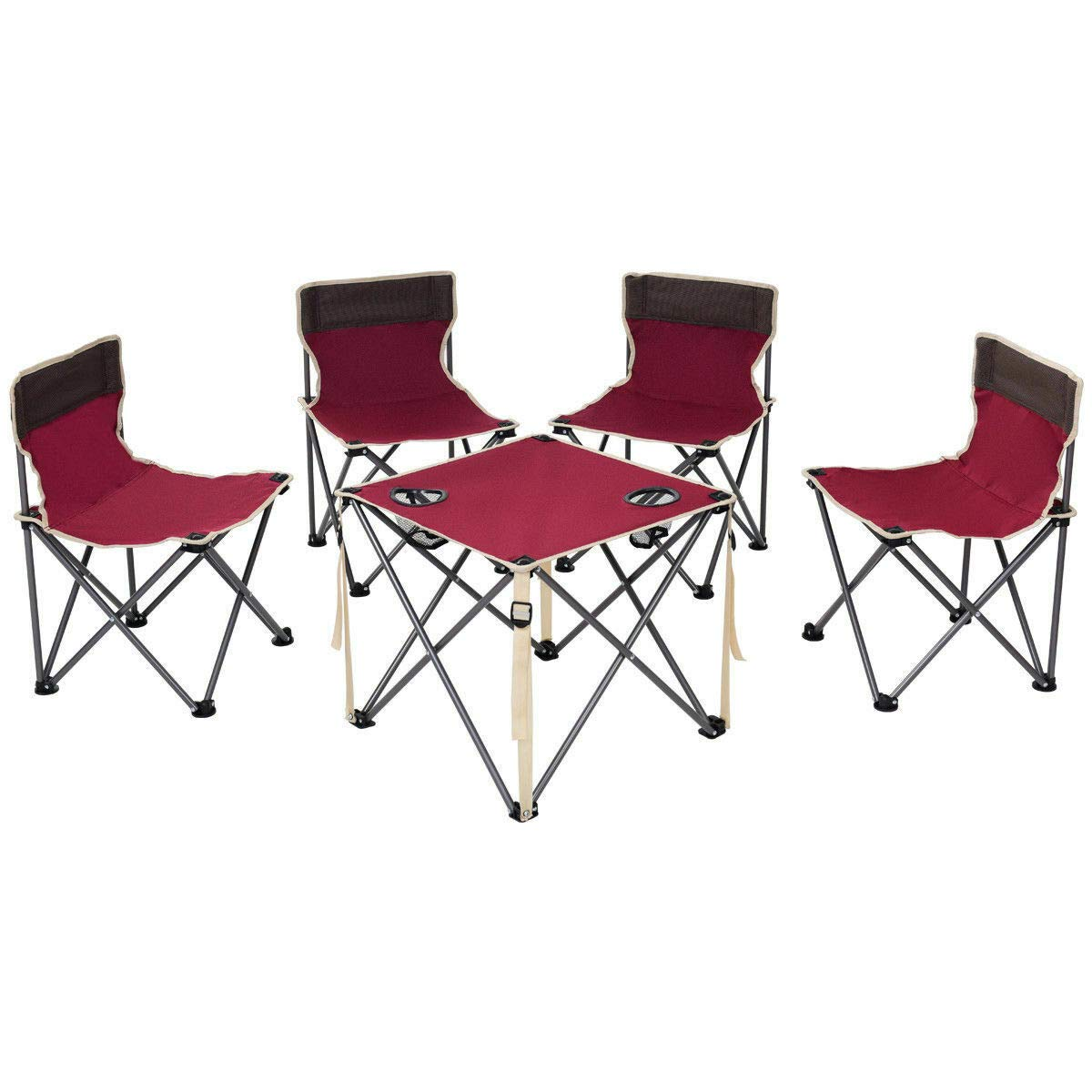 ANA Store Vacations Cookout Party Curl Stand Metal Iron Stell Frame Red Oxford Fabric Portable Folding Table Chairs Set Inside Outside Camp Beach Picnic with Carrying Bag by ANA Store (Image #1)