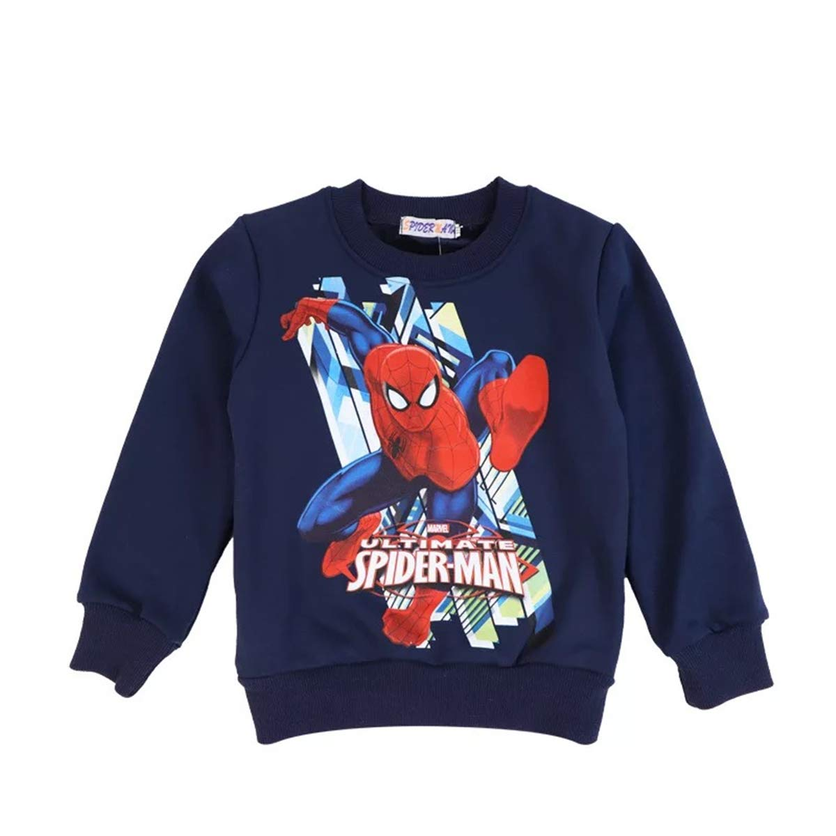GD-SportBX Spider-Man Long Sleeve Pullover Sweater for Boys Kids Superhero Crewneck Sweatshirt Navy Blue