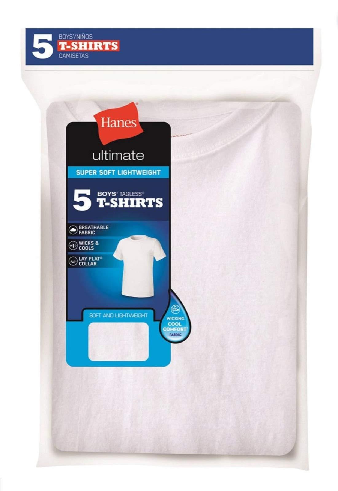 Hanes Big Boys' Crew (Pack of 5) Ice White Tagless T-Shirts Medium Youth 10-12
