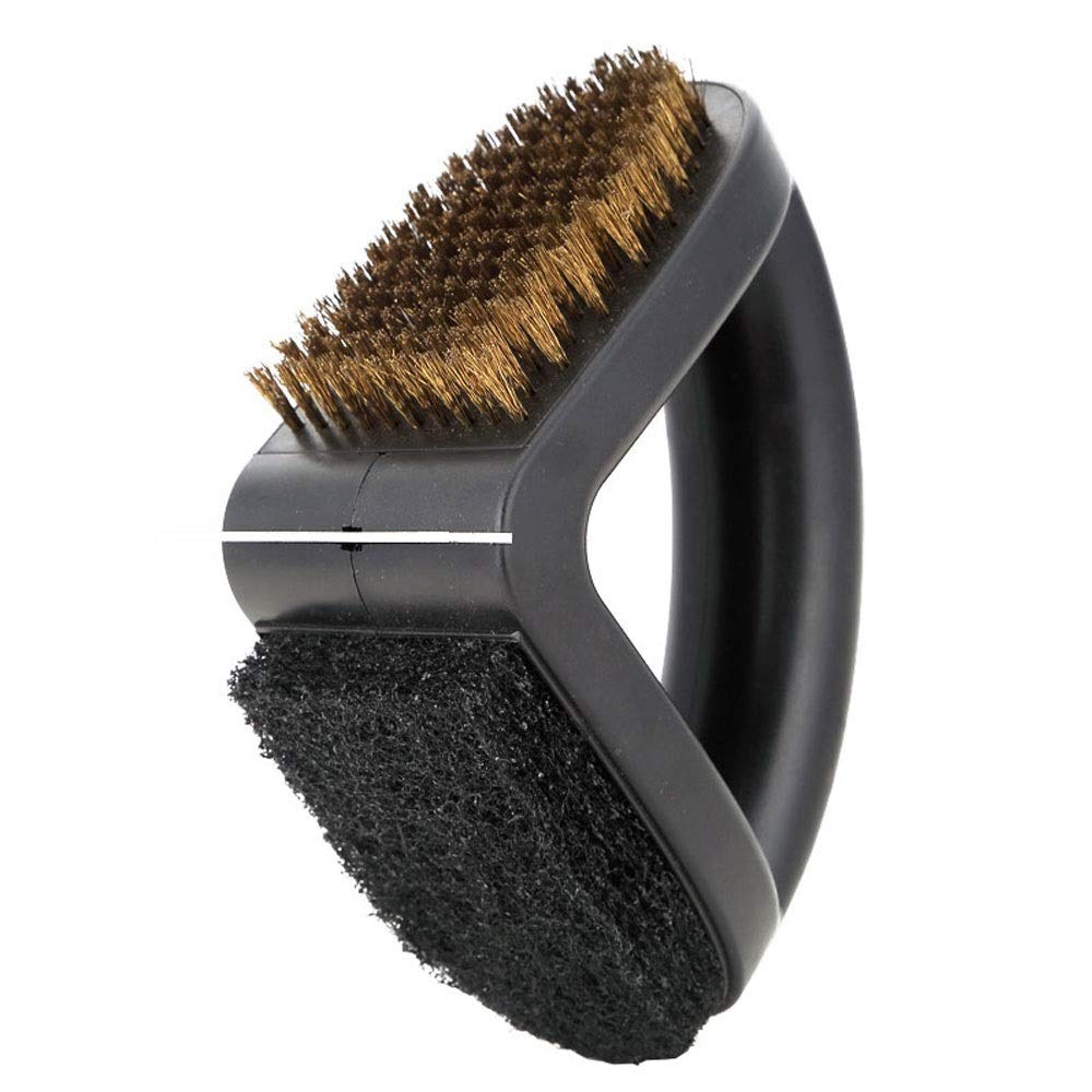 DEI QI Multi-Function Grill Brush and Scraper Copper Wire Brush with Scouring Pad and Comfortable Handle BBQ Grill Brush BBQ Accessories for Charcoal Grills, Ceramic Grills, Kitchen Utensils by DEI QI