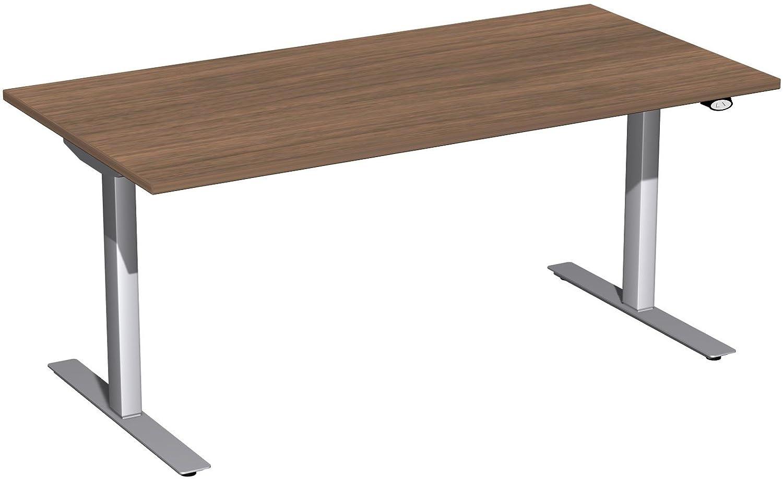 Geramöbel Elektro-Hubtisch höhenverstellbar, 1600x800x680-1160, Nussbaum/Silber