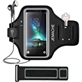 Galaxy S9/S8/S7 Edge Armband, JEMACHE Gym Run/Jog/Exercise Workout Arm Band Case for Samsung Galaxy S8/S9/S7 Edge/S7/S6 with Key/Card Holder (Black)