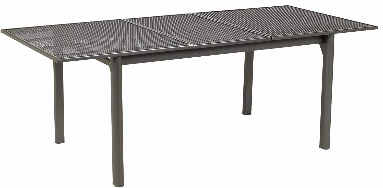 ACAMP – Mesa Extensible de Metal desplegado Strada, Antracita, tamaño: 150 + 50 + 50 x 90 x 72: Amazon.es: Jardín