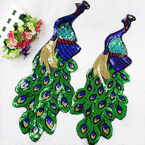 Small Fashion Craft Embroidered Sequins Green Peacock Applique Sew Trim Patches 4215 CM