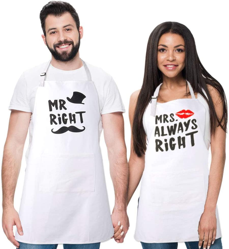 Juego de 2 delantales de cocina miuse Mr. Right and Mrs. Always Right, a juego, compromiso, boda, aniversario, regalo de despedida de soltera, regalo para parejas