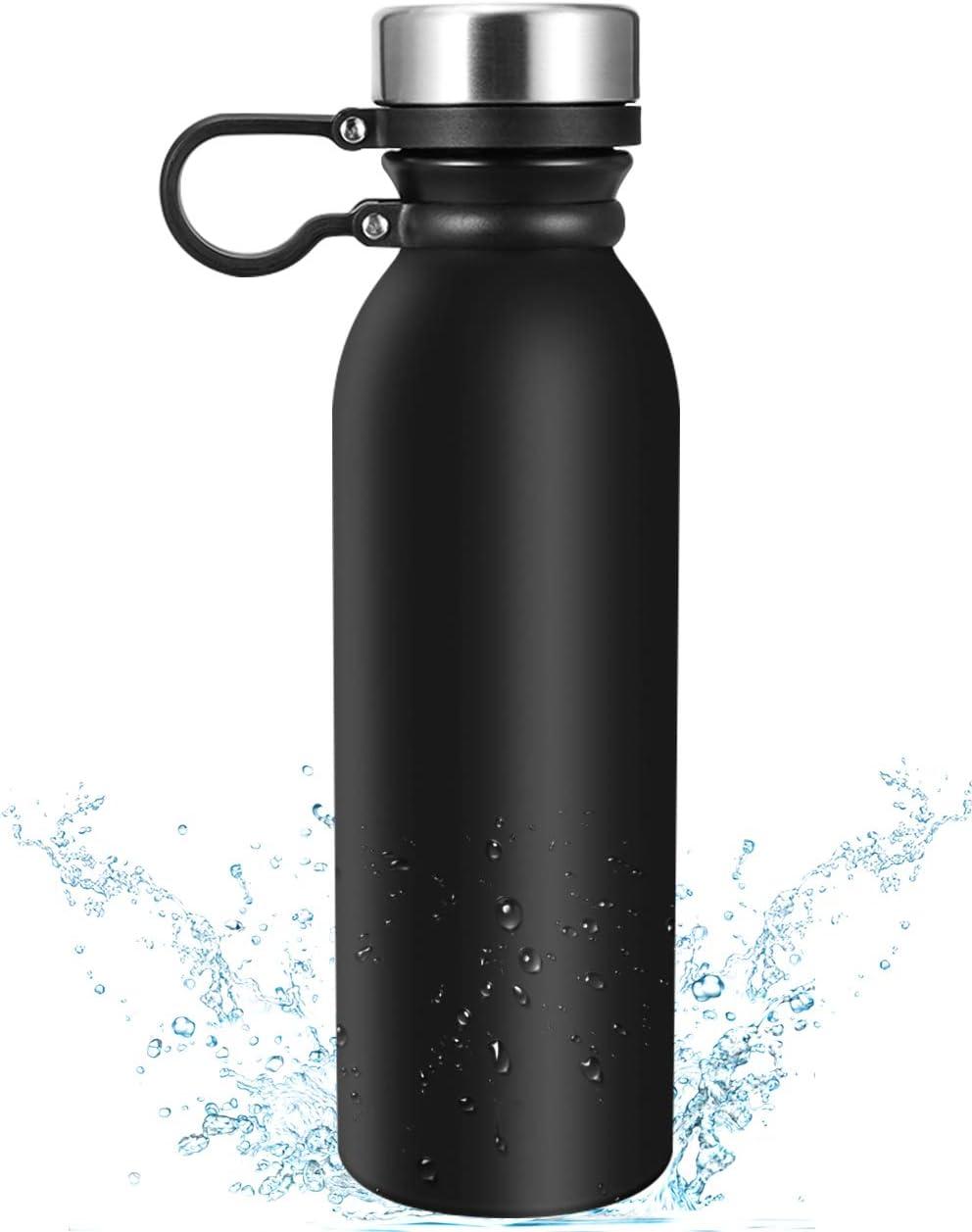 eccomum Botella Termica 600ML Botella de Agua de Acero Inoxidable 304 Doble Pared Aislada al Vacío, Ligera, Resistencia al Rayado, Fácil de Limpiar, 100% Libre de BPA Antifugas, Frío/Caliente