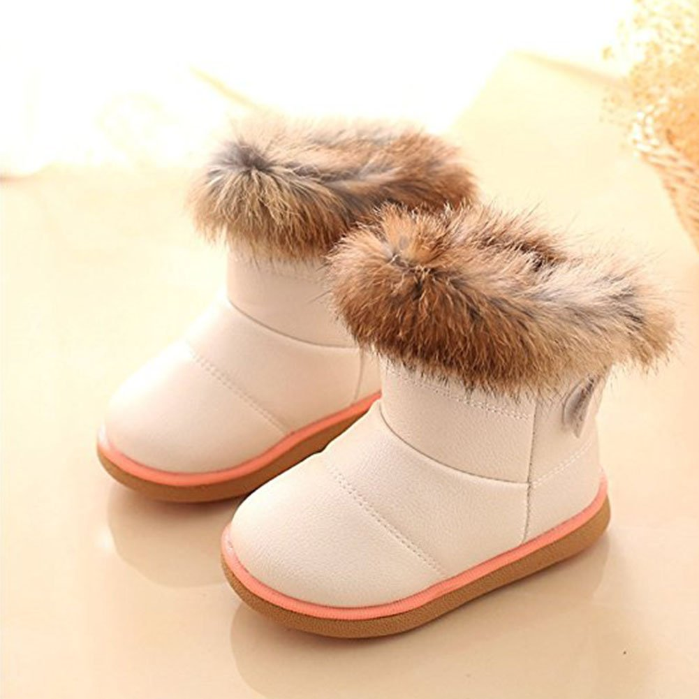 lanchengjieneng 1-6 Years Old Baby Girls Infant Toddler Winter Fur Shoes Snow Boots