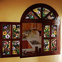 TT&CC Stained Glass Window Film,Privacy 3D Frosted PVC Static Cling Window Film Sun Blocking Window Paper Glass Screen Stickers