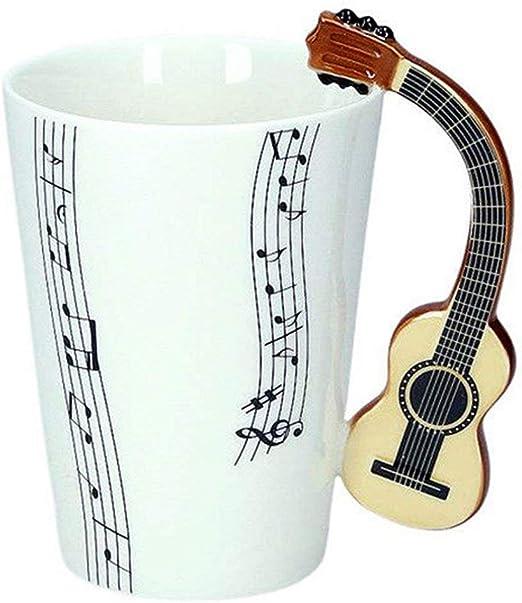 Taza de cerámica, diseño de notas musicales y asa con diseño de ...