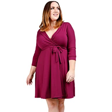 Verona Couture Womens Plus Size Dress Burgundy Wrap Bodycon Dress