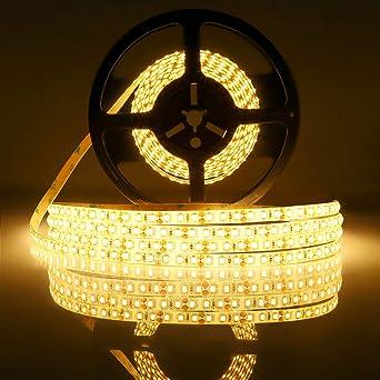Tiras led 12V 5m,luces led blanco cálido 2700K SMD2835 tira led 600leds tiras led