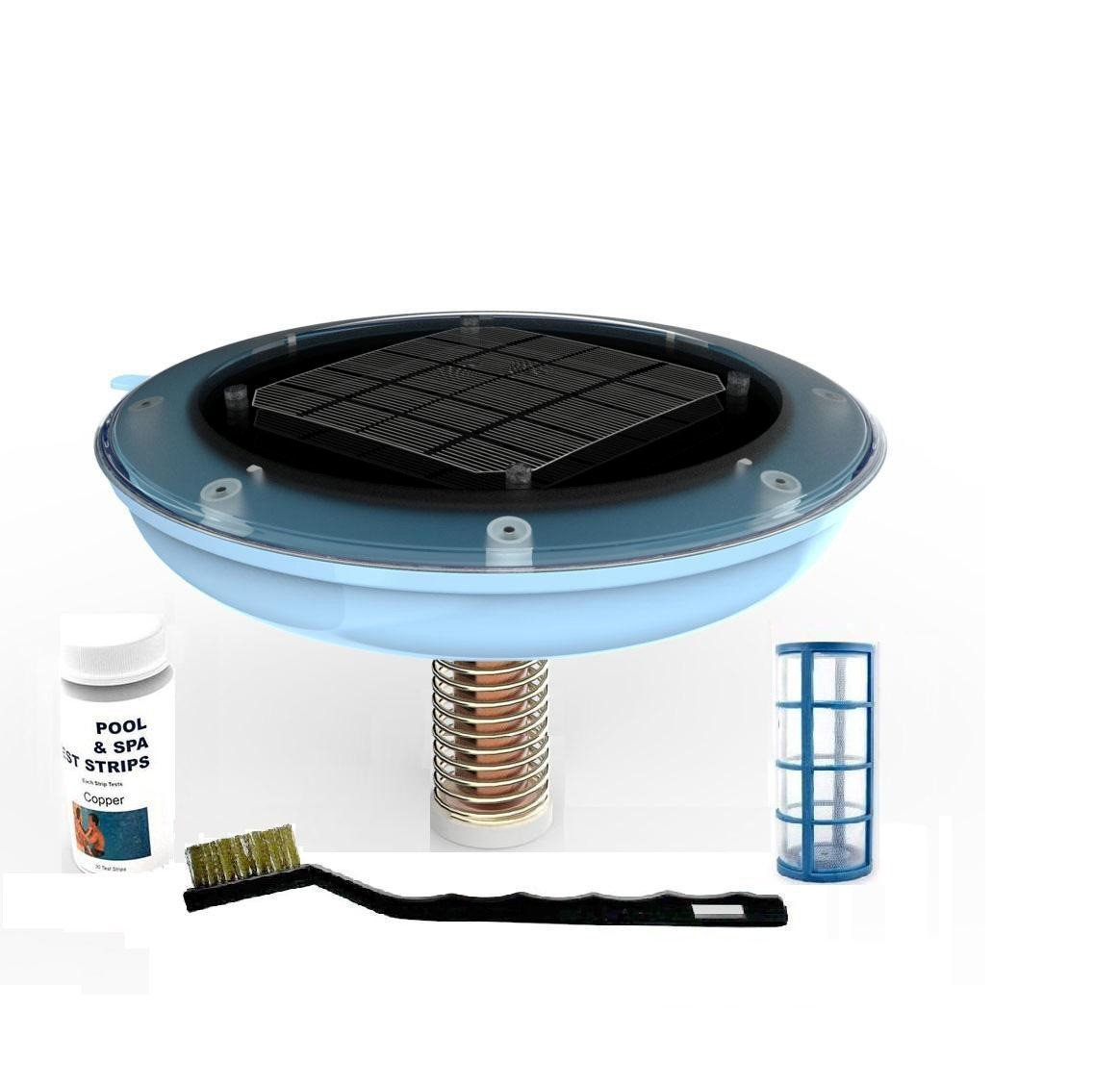 Peak Products Solar Pool Ionizer, Kills Algae Using 85% Less Chlorine, 100% Natural, Keeps Water Crystal Clear - Treats pools up to 35,000 Gallons And Includes Free Extra Copper Core
