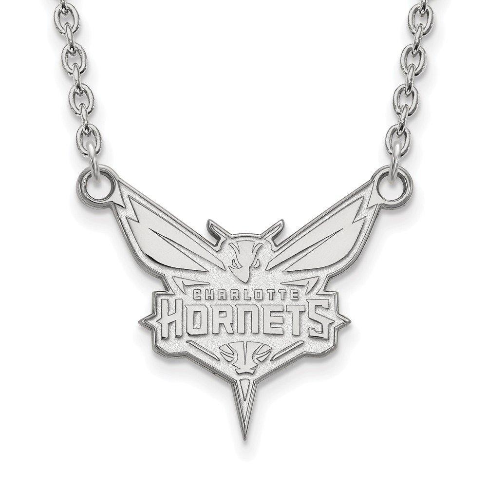 NBA Charlotte Hornets Largeペンダントネックレス10 Kホワイトゴールド – 18インチ   B01M0DIAB7