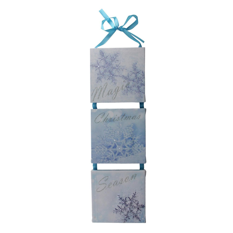 "Northlight 15.5'' LED Lighted Winter Blue ""Magic Christmas Season"" Snowflake Wall Art Decoration"