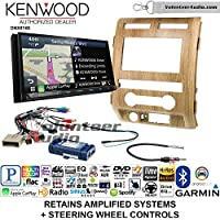 Volunteer Audio Kenwood DNX874S Double Din Radio Install Kit with GPS Navigation Apple CarPlay Android Auto Fits 2009-2010 Ford F-150 (Ash Satin)