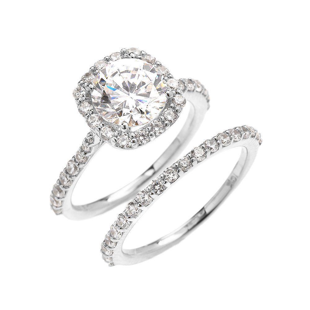 10k White Gold 3 Carat CZ Solitaire Halo Proposal Engagement And Wedding Ring Set(Size 8.25)