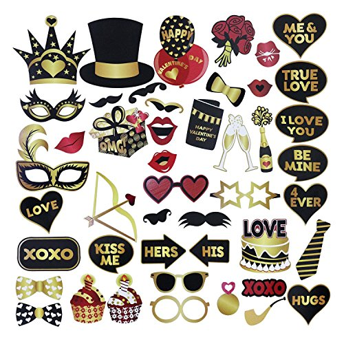 Valentines Day Photo Booth Props DIY Kit - Funny Gold and Black Photo Booth Props - Valentines Day Party Supplies Decorations - 46 - Instructions Booth Photo