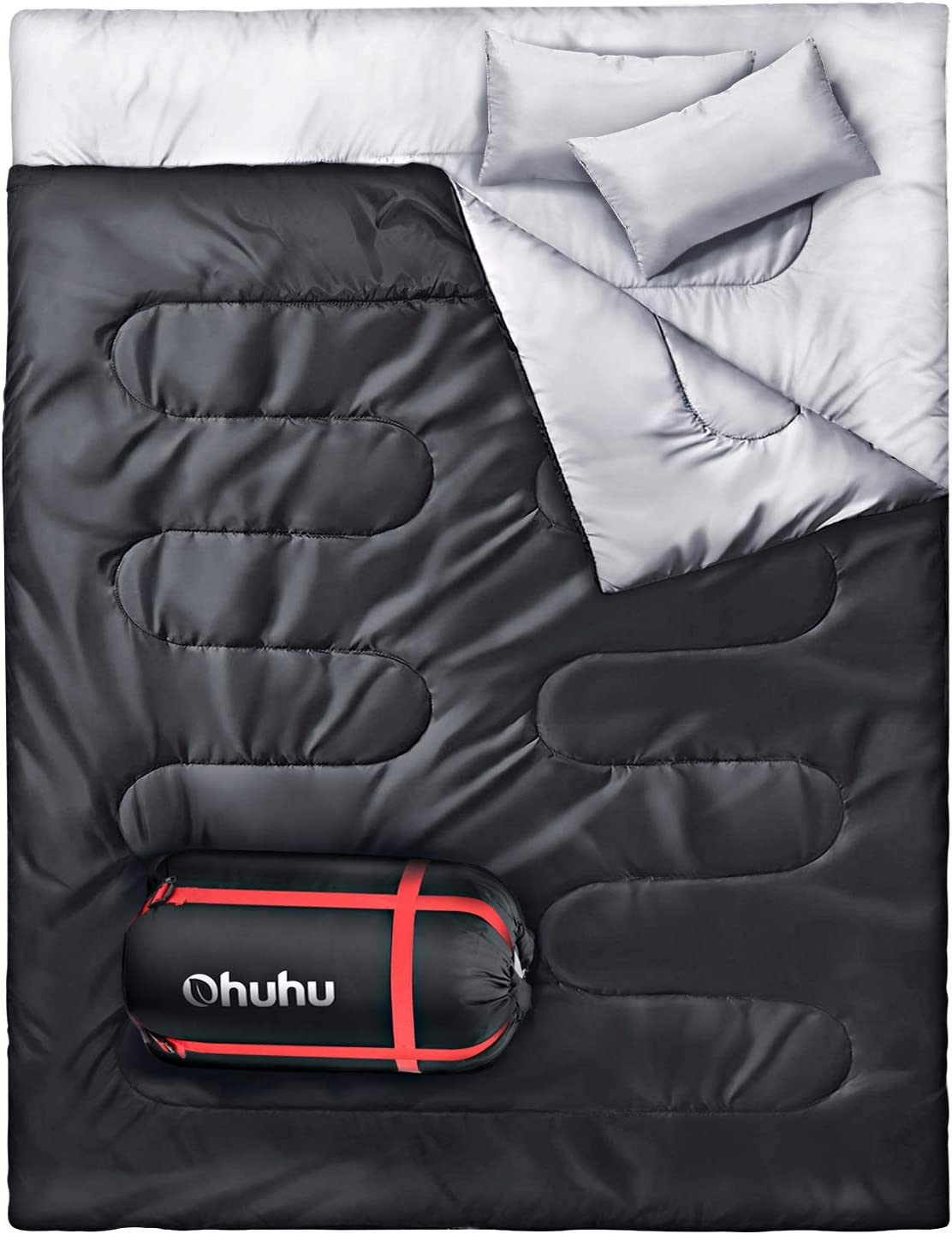Ohuhu Double Sleeping Bag, 2 Person Sleeping Bags with 2 Pillows for Adults, Teens, Cold Cool Weather Camping, Backpacking, Hiking Accessories in ...