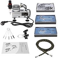 KKmoon 3 Kit Aerógrafo Compresor Profecional para Coloración Cerámica y Modelo/Tatuaje Temporal/Manicura, 3 Aerógrafo…