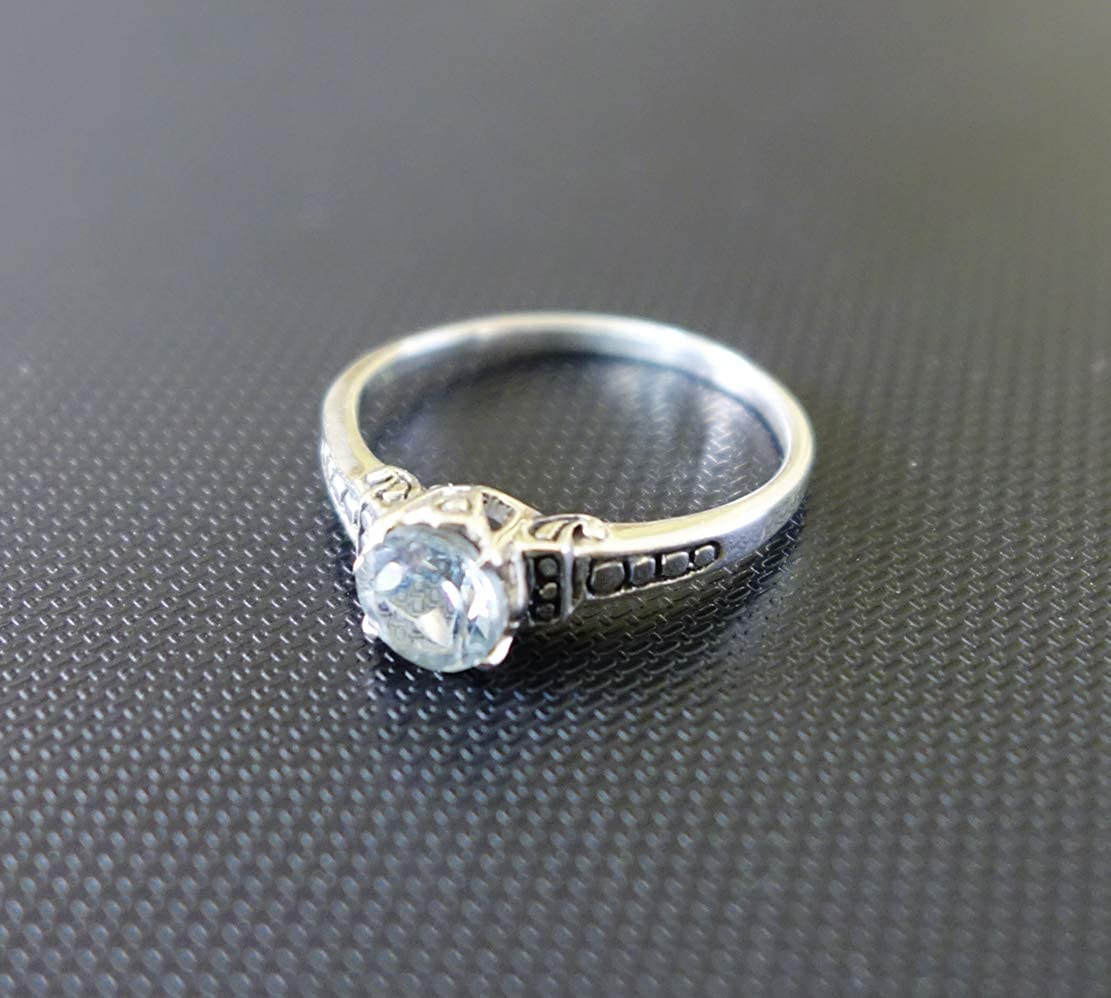 in 925 Sterling Silver Unique Designer Statement Ring Handmade by ARTISANS Healing Stone Blue Topaz Gemstone FINE Filigree Modern Cocktail Jewelry Finger Ring for Women US Size 6