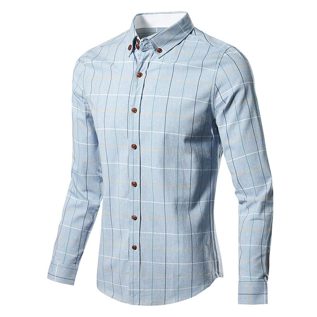 73e8600b Stoota 2019 New Men's Fashion Business Long-Sleeved Plaid Dress Shirt, Top  Blouse at Amazon Men's Clothing store: