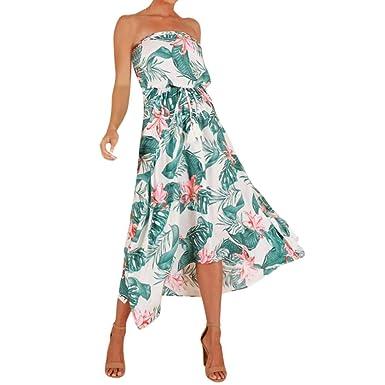 be819be90f2 Angelof Robe Plage Longue Bustier Femme Ete Robe Imprimé Floral Robe  Hawaienne Robe De Soiree Chic Robe Cocktail Mariage  Amazon.fr  Vêtements  et ...