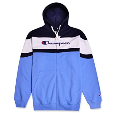 c9dd37e67e65 Champion Mens Big   Tall Color Block Hoodie Navy White Candid Blue X-Large  Tall
