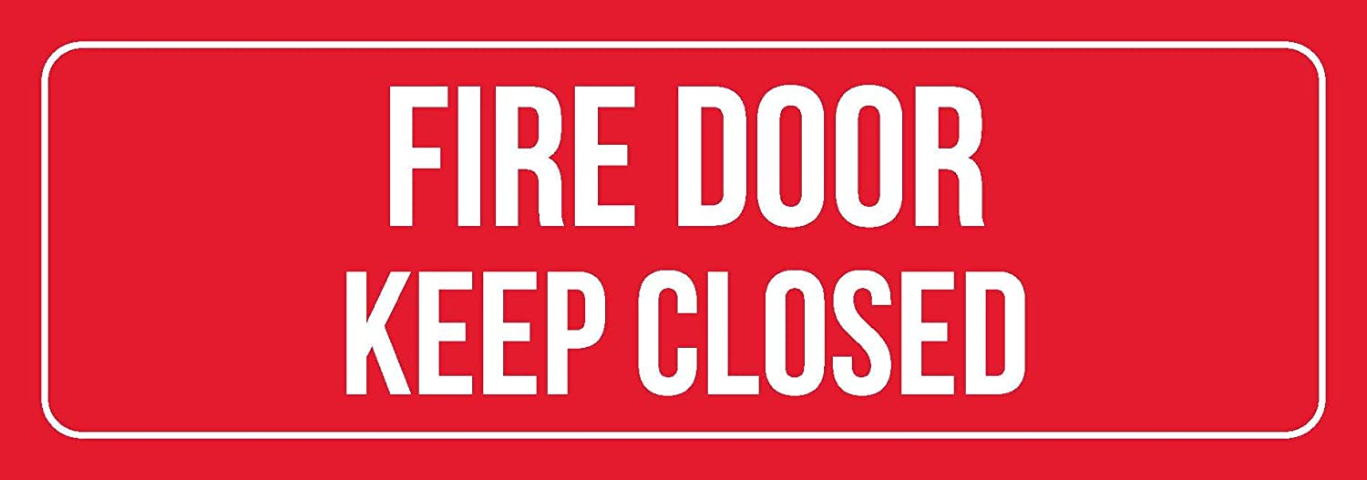 iCandy Combat Red Background with White Font Fire Door Keep Closed Business Retail Outdoor & Indoor Plastic Wall Sign - 6 Pack, 3x9