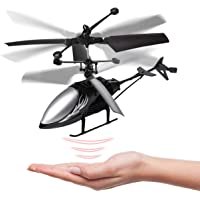 Remote Control Helicopter Flying Toys, Mini Led Rechargeable Hand Operated Drone with LED Light for Kids, Boys Girls Indoor Outdoor Games(Black)