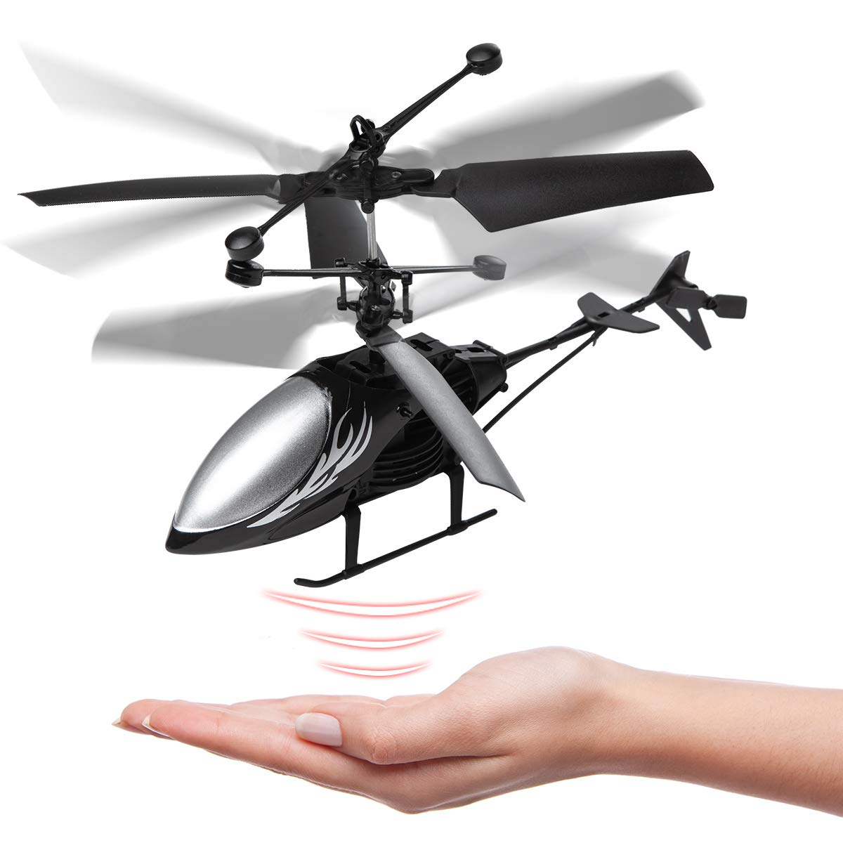 Remote Control Helicopter Flying Toys Boys Girls Indoor Outdoor Games Mini Led Rechargeable Hand Operated Drone with LED Light for Kids Black