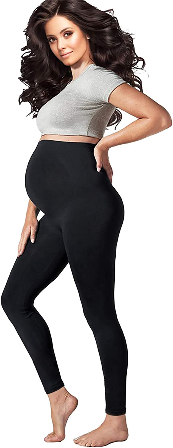 Pregnology Women's Maternity Leggings Seamless over the Belly Compression with Pregnancy Support Stretch Band Breathable Summer Clothes for Pregnant Women (Black, Large)