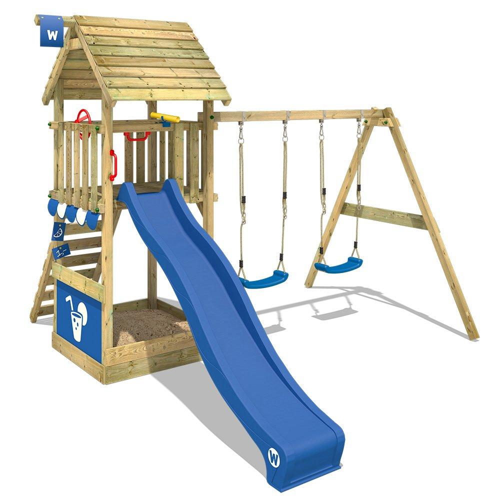 mejor calidad - WICKEY Parque infantil Smart Smart Smart Shelter Torre de escalada con techo de madera Barras de mono con cajón de arena, tobogán y columpio, azul  buena calidad