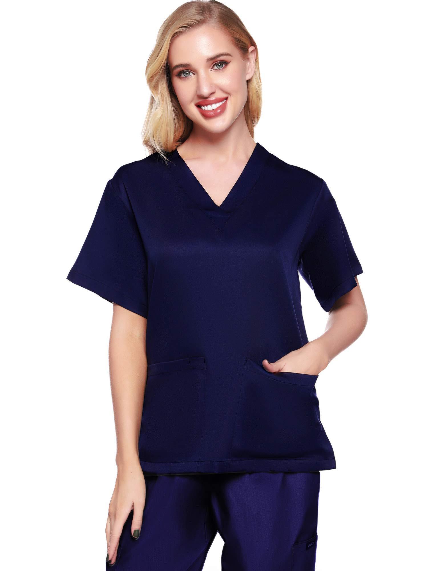 Womens V Neck Solid Short Sleeve Scrub Top Work Uniform Shirt with Pockets (Navy L)