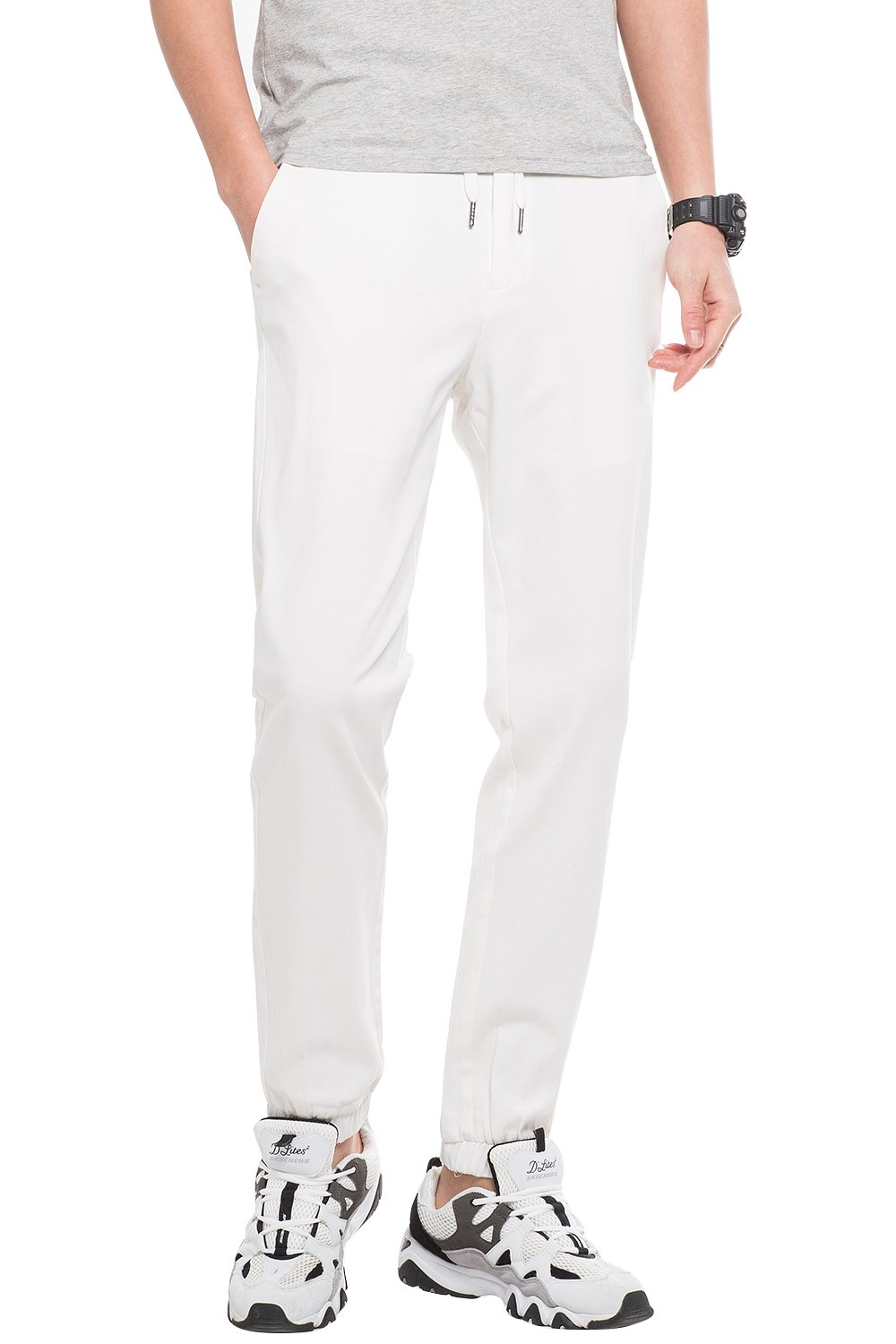 INFLATION Men's Stretchy Casual Jogger Pants  Blend Combed Cotton Formal Elastic Waist Trousers Dress Pants White US SIZE L