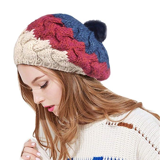Longra Donna Berretti In Maglia Patchwork Colorato Winter Cappello  Pelliccia Pom Pom Invernale Di Lana Berretto Delle Signore Delle Donne  Beanie Hat  ... e8b1ec3e1218