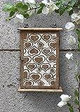 Key Box Holder Cabinet Organizer Wooden Storage Wall Mounted Box with White Distressed Heart Designed 6 Hooks Antique Finish