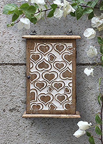 Wall Key Box Holder Cabinet Organizer Wooden Storage Wall Mounted Box with White Distressed Heart Designed 6 Hooks Antique Finish