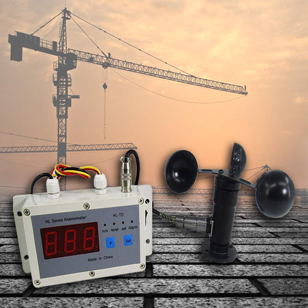 KUNHEWUHUA Wind Speed Alarm Device Anemometer Wind Speed Measure& Control Instrument 0-30 m/s LED Digital Display for Crane Construction Machinery Railway Weather Station Dedicated Anemometer (110v)