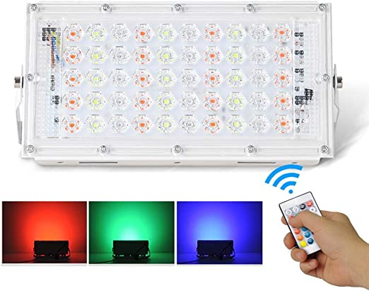 La Luz De Inundación,LED Y De Seguridad Reflector,50W Proyector LED RGB Jardín De Luz Con Control Remoto, Regulable Super Brillante De Seguridad Reflector Al Aire Libre De Iluminación De La Lámpara: Amazon.es:
